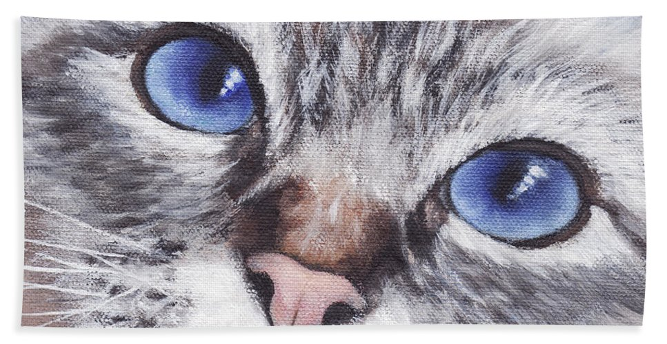 Cat Hand Towel featuring the painting Harley by Greg and Linda Halom