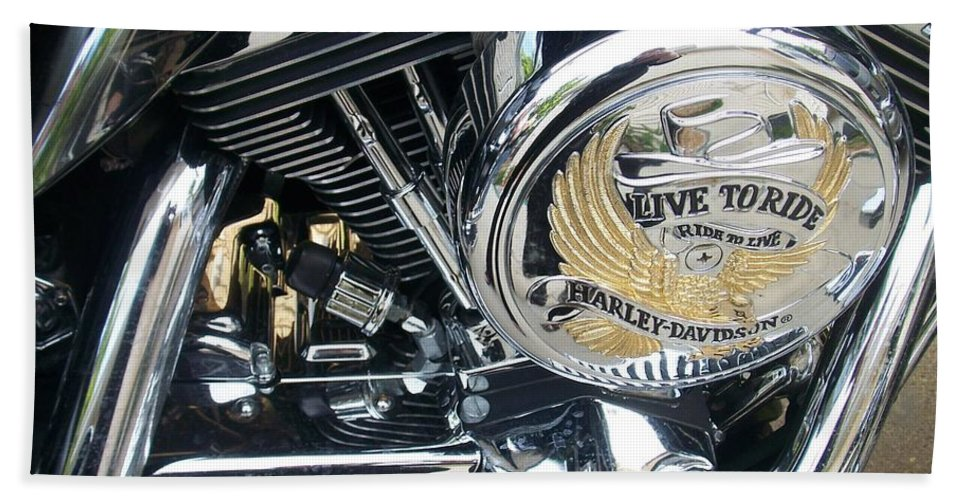 Motorcycles Bath Sheet featuring the photograph Harley Live To Ride by Anita Burgermeister