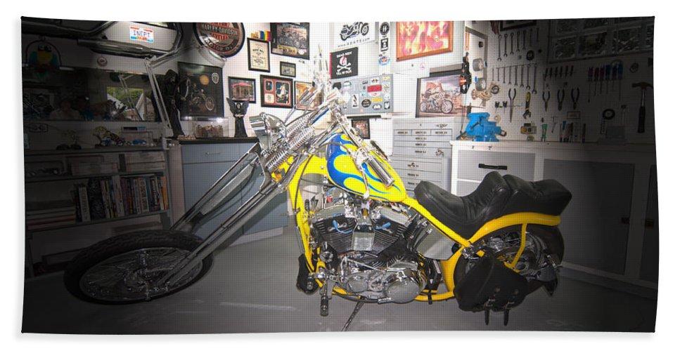 Harley Davidson Hand Towel featuring the photograph Harley Operating Room by Randall Branham