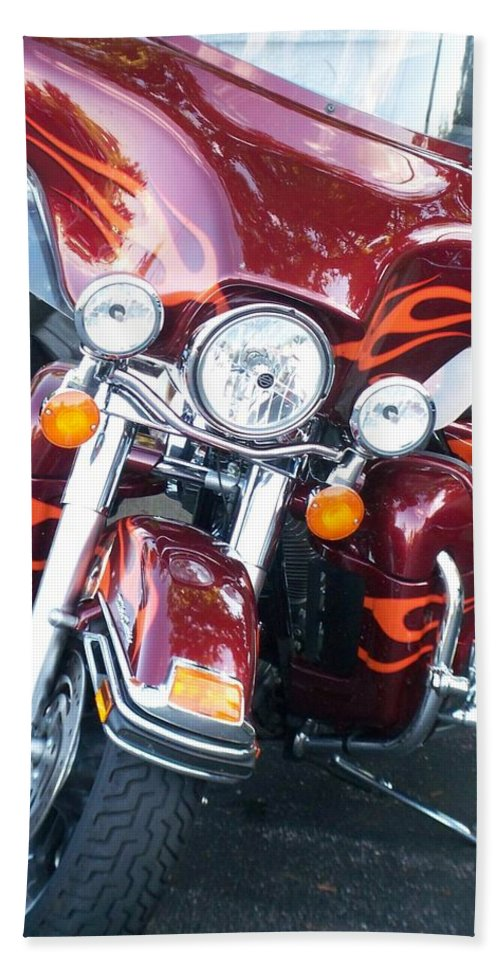 Motorcycles Bath Towel featuring the photograph Harley Red W Orange Flames by Anita Burgermeister