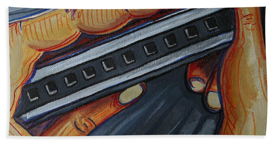 Harmonica Hand Towel featuring the painting Harmonica by Kate Fortin