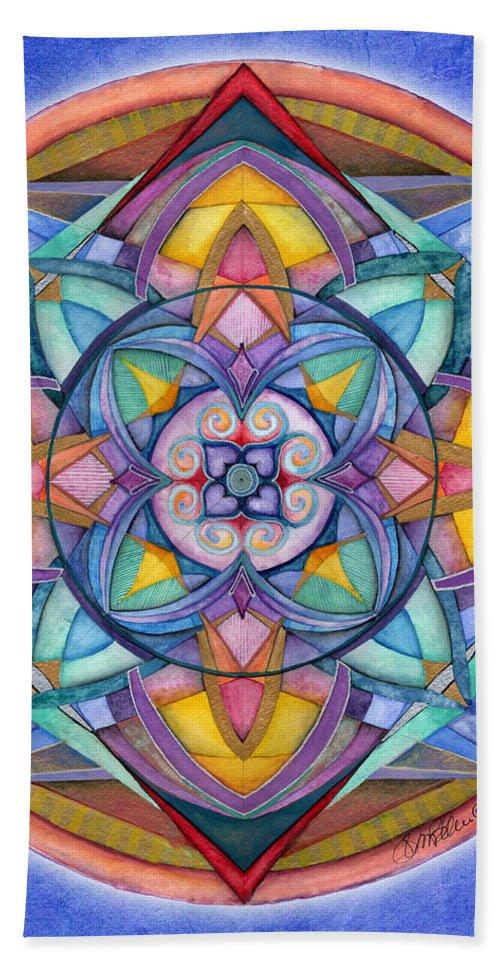 Mandala Art Bath Sheet featuring the painting Harmony Mandala by Jo Thomas Blaine
