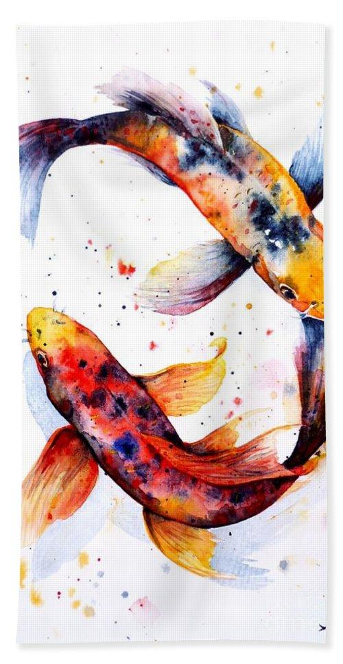 Koi Hand Towel featuring the painting Harmony by Zaira Dzhaubaeva