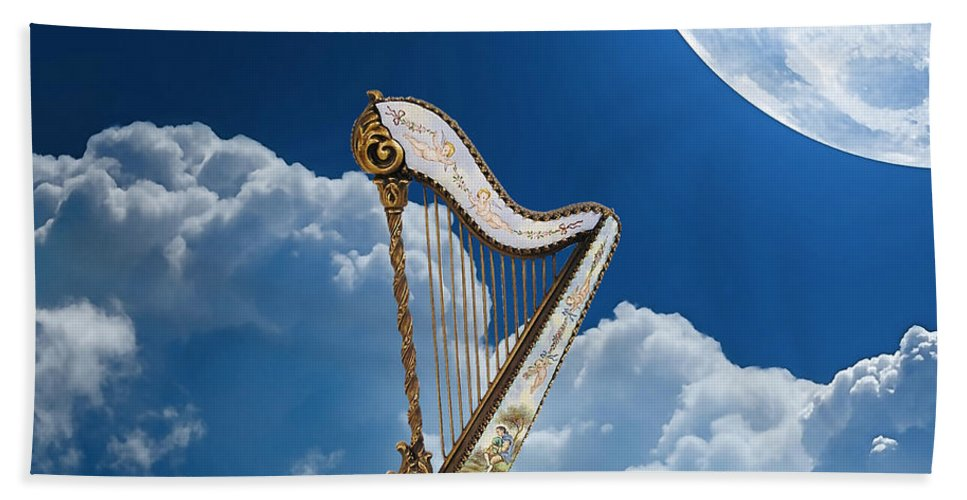 Harp Bath Sheet featuring the mixed media Harp by Marvin Blaine