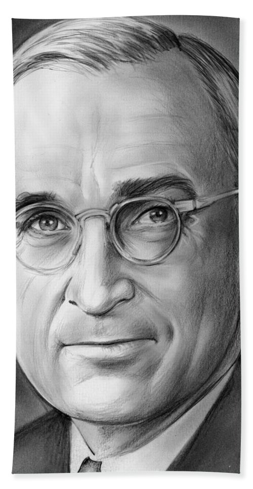 33rd President Bath Towel featuring the drawing Harry S. Truman by Greg Joens