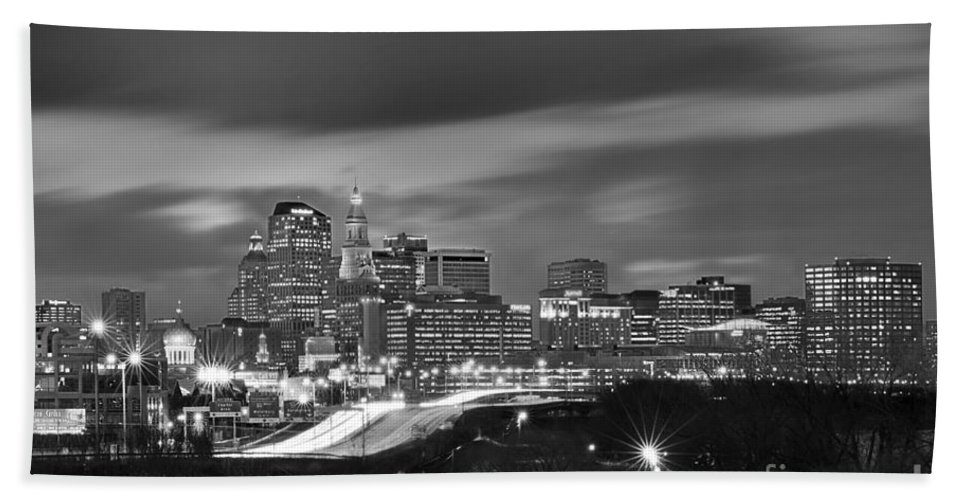 Hartford Skyline At Night Hand Towel featuring the photograph Hartford Skyline At Night Bw Black And White by Jon Holiday