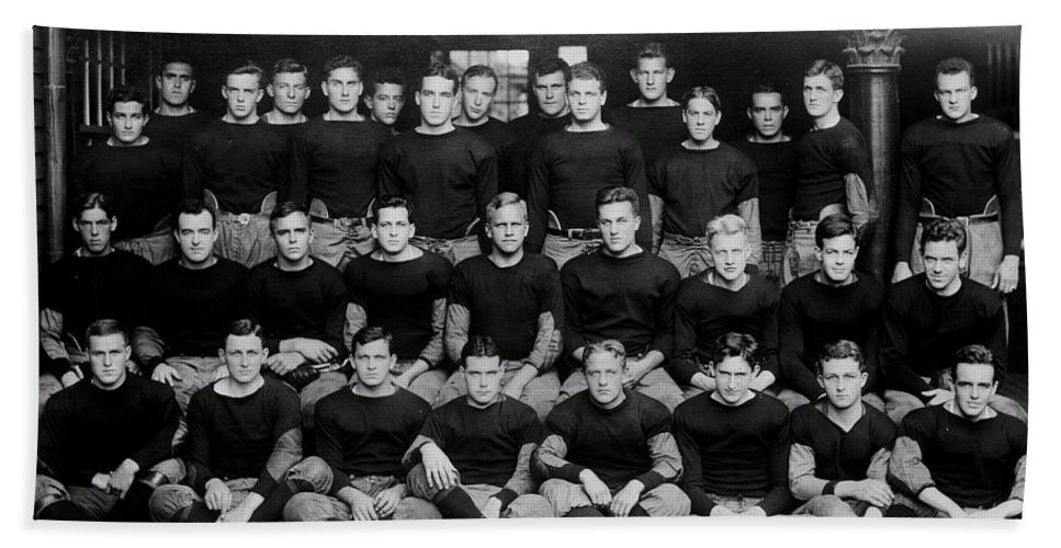 Football Hand Towel featuring the photograph Harvard Football 1912 by Benjamin Yeager