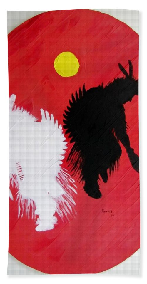 Harvest Dance Hand Towel featuring the painting Harvest Dance by Michael TMAD Finney
