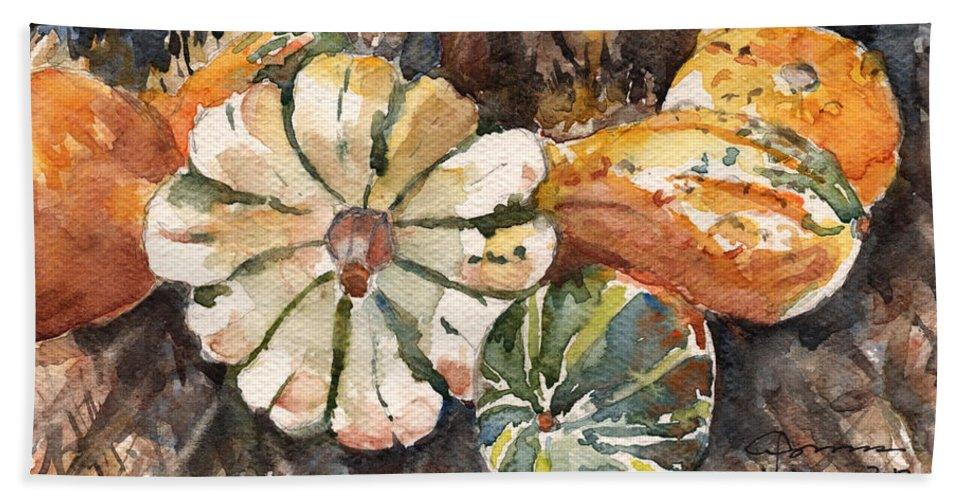 Gourds Bath Sheet featuring the painting Harvest Gourds by Claudia Hafner