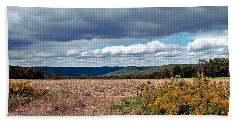 Fields Hand Towel featuring the photograph Harvest Is Over by Christian Mattison