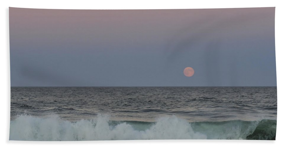 Harvest Moon Hand Towel featuring the photograph Harvest Moon Seaside Park New Jersey 2013 by Terry DeLuco