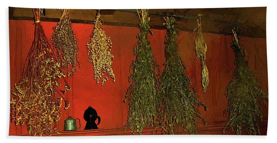 Herbs Hand Towel featuring the painting Harvest Of Herbs by RC DeWinter