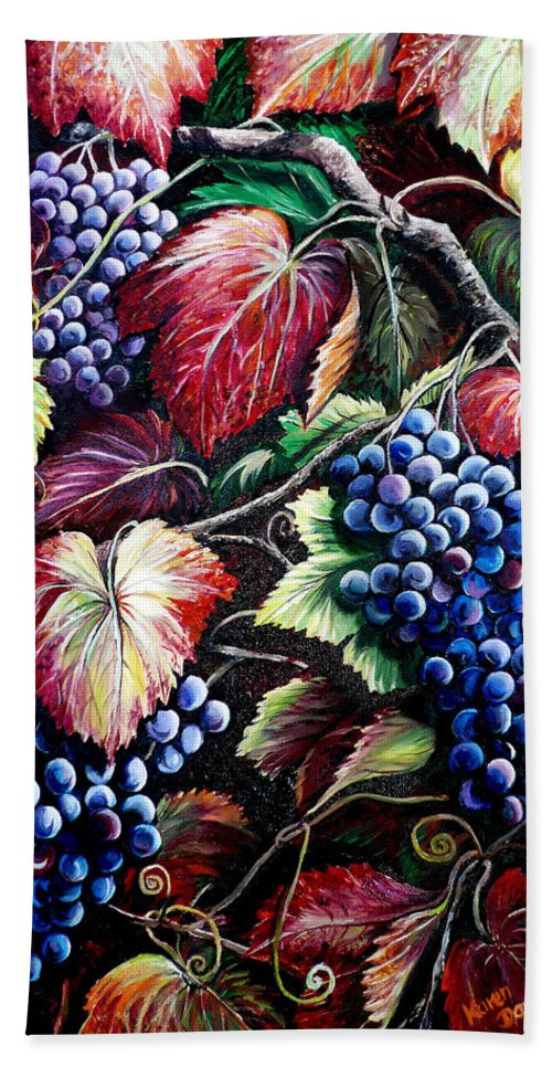 Grapes Painting Hand Towel featuring the painting Harvest Time by Karin Dawn Kelshall- Best