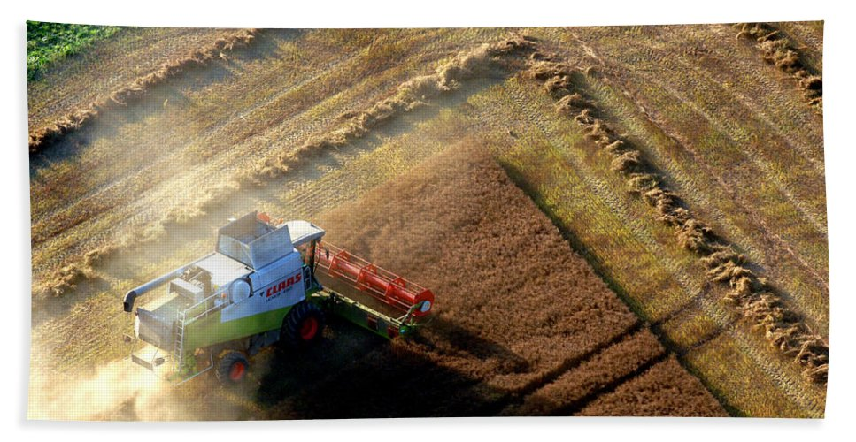 Barley Hand Towel featuring the photograph Harvesting by Mark Llewellyn
