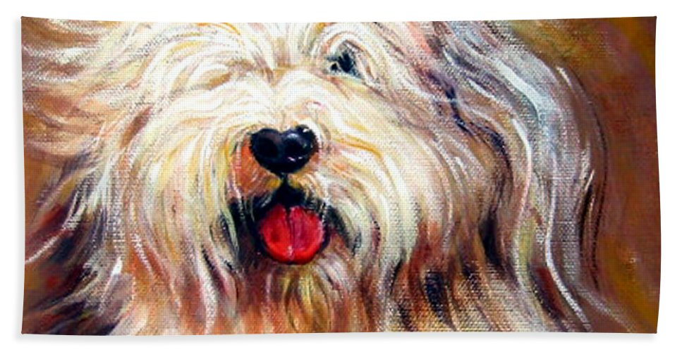 Sheepdog Bath Sheet featuring the painting Harvey The Sheepdog by Rebecca Korpita