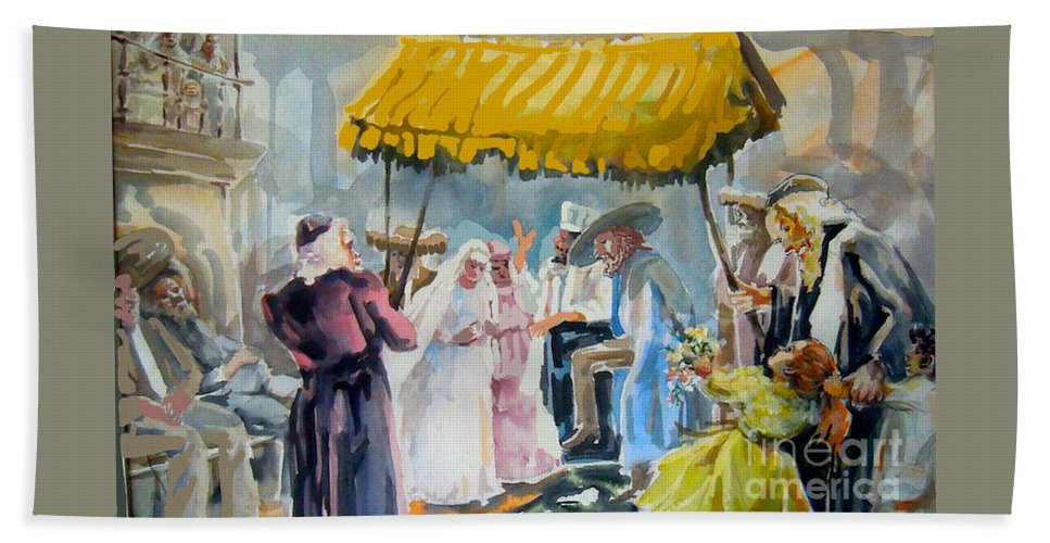 Jewish Hand Towel featuring the painting A Jewish Wedding by Shirl Solomon