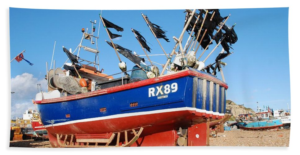 Fishing Bath Sheet featuring the photograph Hastings Fishing Boat by David Fowler