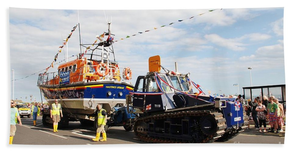 Lifeboat Bath Sheet featuring the photograph Hastings Lifeboat by David Fowler