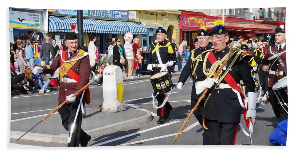 Drums Bath Sheet featuring the photograph Hastings Old Town Carnival by David Fowler