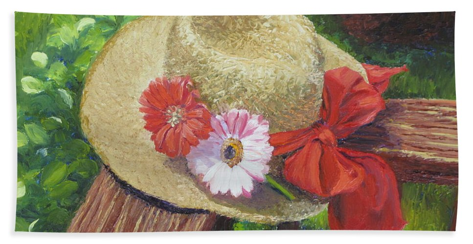 Flowers Hand Towel featuring the painting Hat with Flowers by Lea Novak