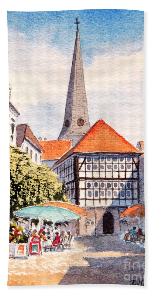Hattingen Germany Hand Towel featuring the painting Hattingen Germany by Bill Holkham