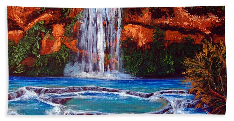 Waterfalls Hand Towel featuring the painting Havasu Falls Cheryln1955@gmail.com by Cheryl Newbanks