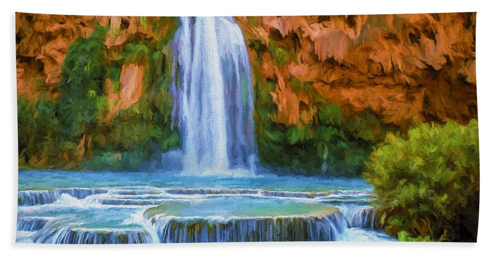 Fine Art Bath Sheet featuring the painting Havasu Falls by David Wagner