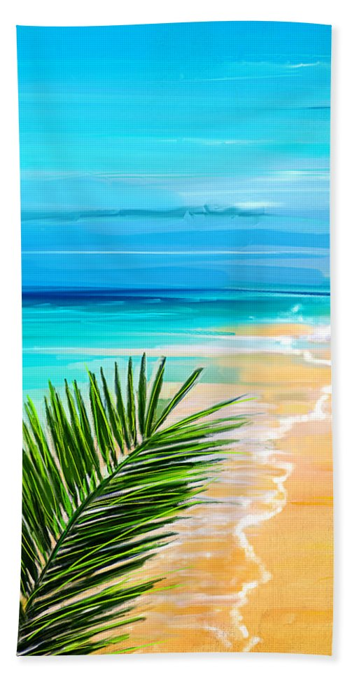Seascapes Abstract Hand Towel featuring the painting Haven Of Bliss by Lourry Legarde