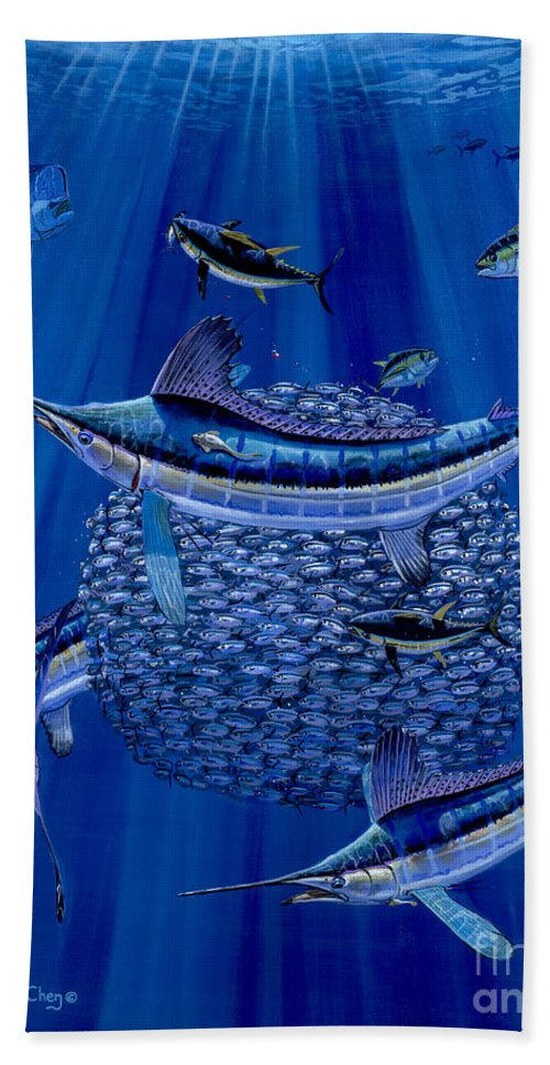 White Marlin Hand Towel featuring the painting Having A Ball Off0078 by Carey Chen
