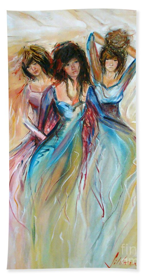 Contemporary Art Hand Towel featuring the painting Having Fun by Silvana Abel
