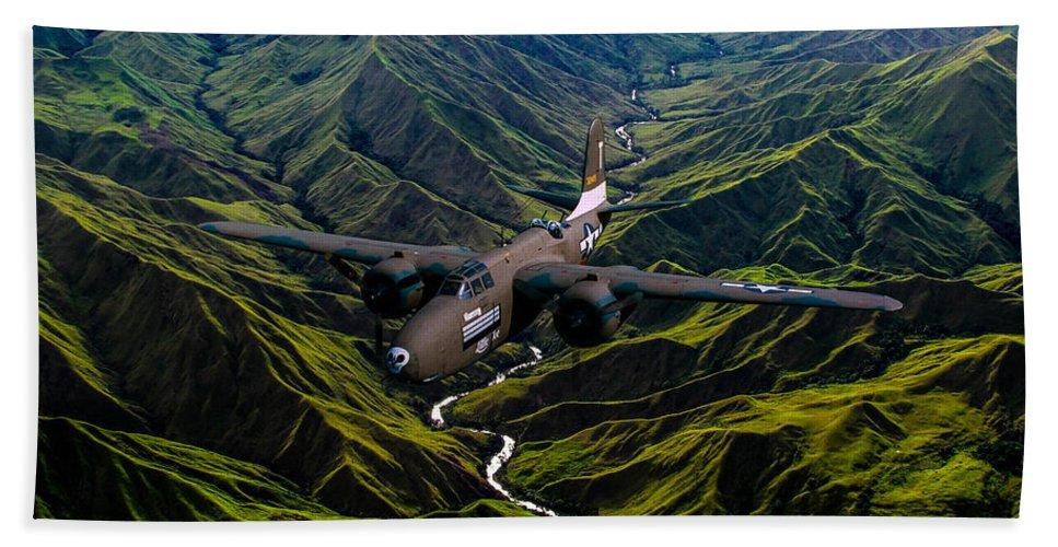 Bomber Bath Sheet featuring the digital art Havoc In The Pacific by Tommy Anderson