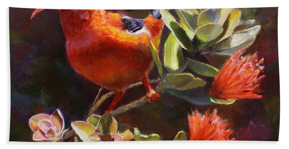 Hawaiian IIwi Bird And Ohia Lehua Flower Hand Towel for Sale