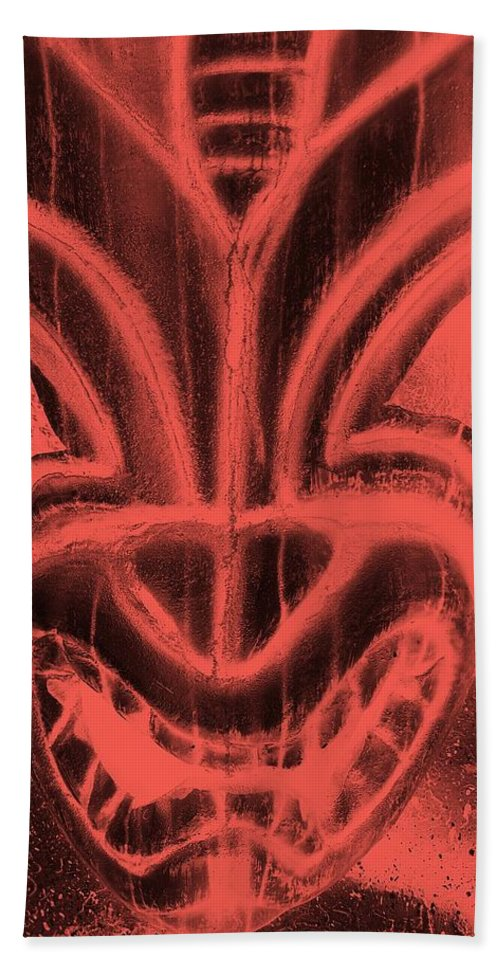 Polynesian Hand Towel featuring the photograph Hawaiian Mask Negative Salmon by Rob Hans
