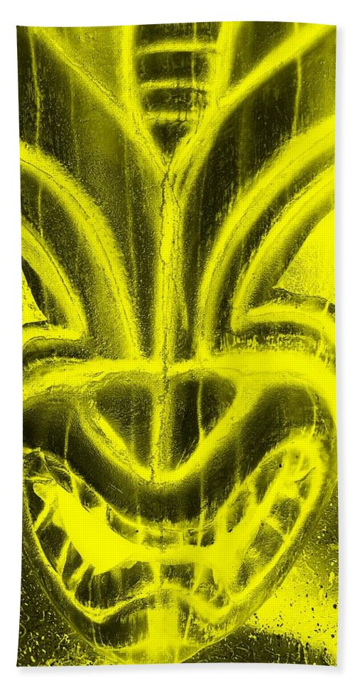 Polynesian Hand Towel featuring the photograph Hawaiian Mask Negative Yellow by Rob Hans