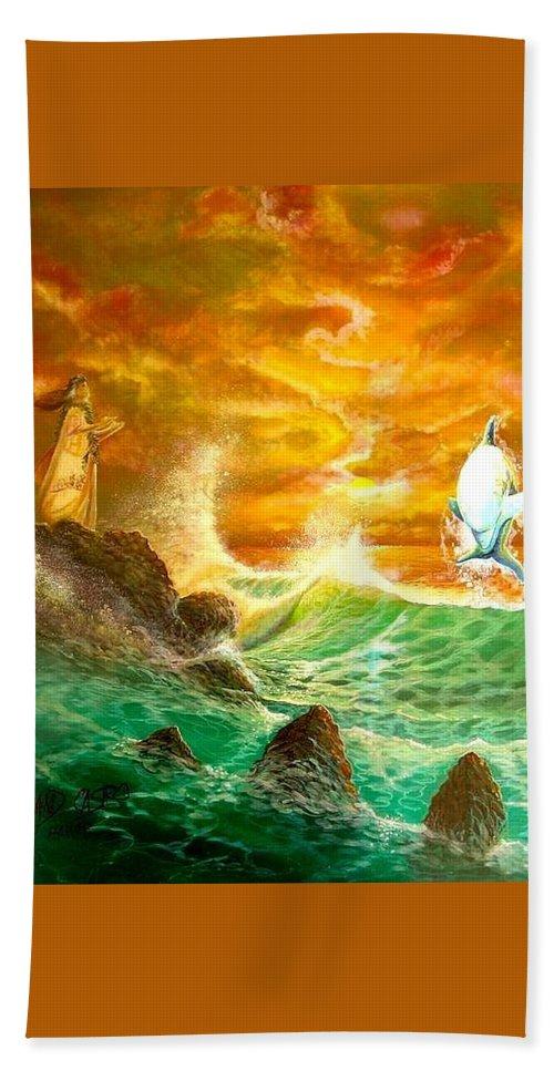 Hawaii Seascape Hand Towel featuring the painting Hawaiian Spirit Seascape by Leland Castro