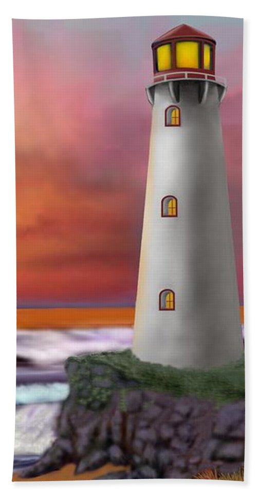 Hawaii Hand Towel featuring the digital art Hawaiian Sunset Lighthouse by Glenn Holbrook