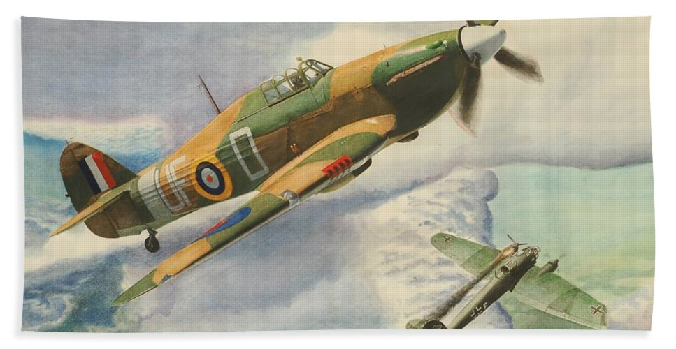 Sky Hand Towel featuring the painting Hawker Hurricane by Oleg Konin