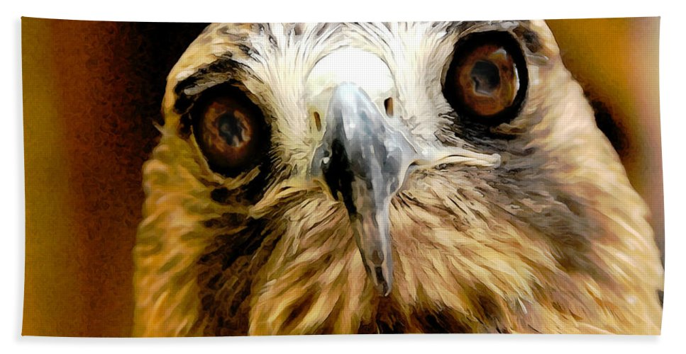Hawk Hand Towel featuring the photograph Hawkeye by Lois Bryan