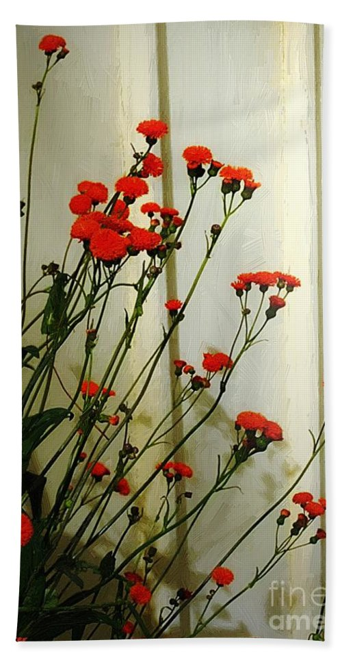 Landscape Hand Towel featuring the painting Hawkweed In Late Autumn Sun by RC DeWinter