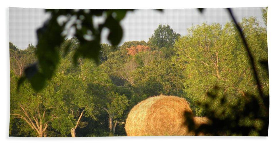 Hay Bale Hand Towel featuring the photograph Hay Bale by Annie Adkins