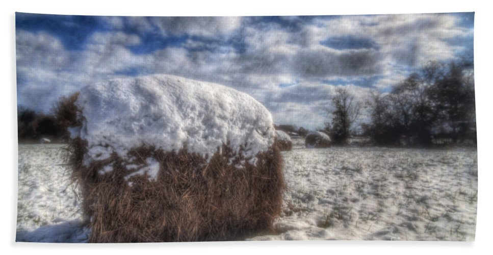2014 Hand Towel featuring the photograph Hay Bale In The Snow by Larry Braun