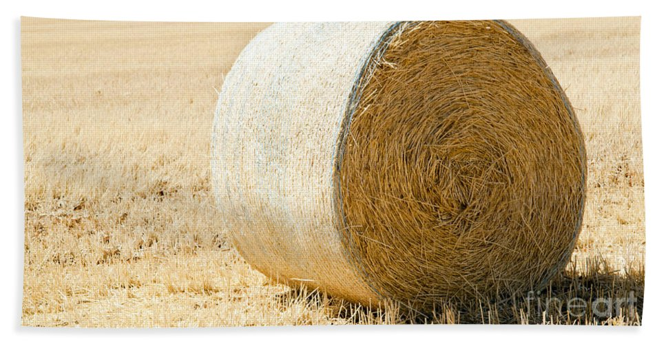 Farm Bath Sheet featuring the photograph Hay Bale by Tim Hester