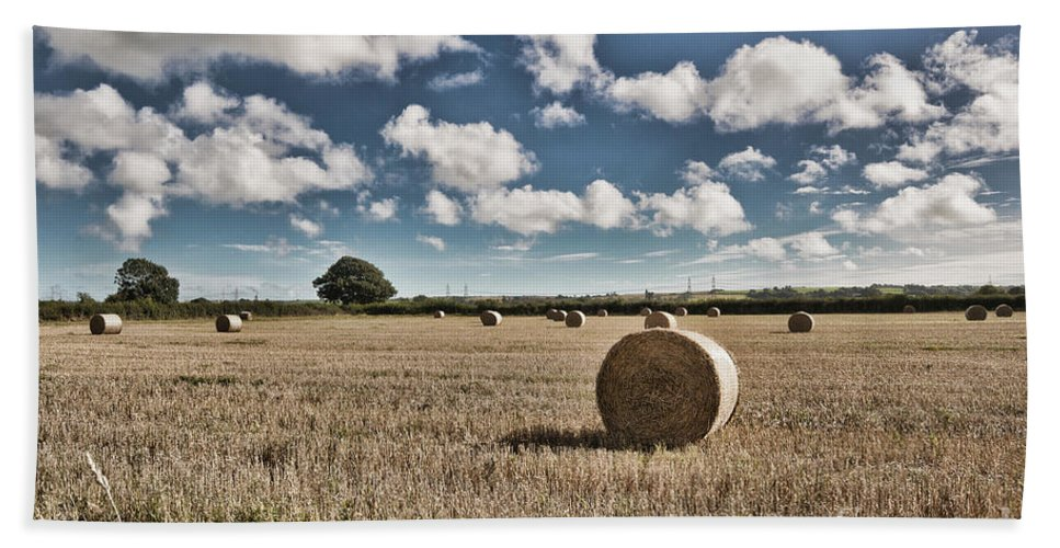 Hay Bales Hand Towel featuring the photograph Hay Bales 1 by Steve Purnell
