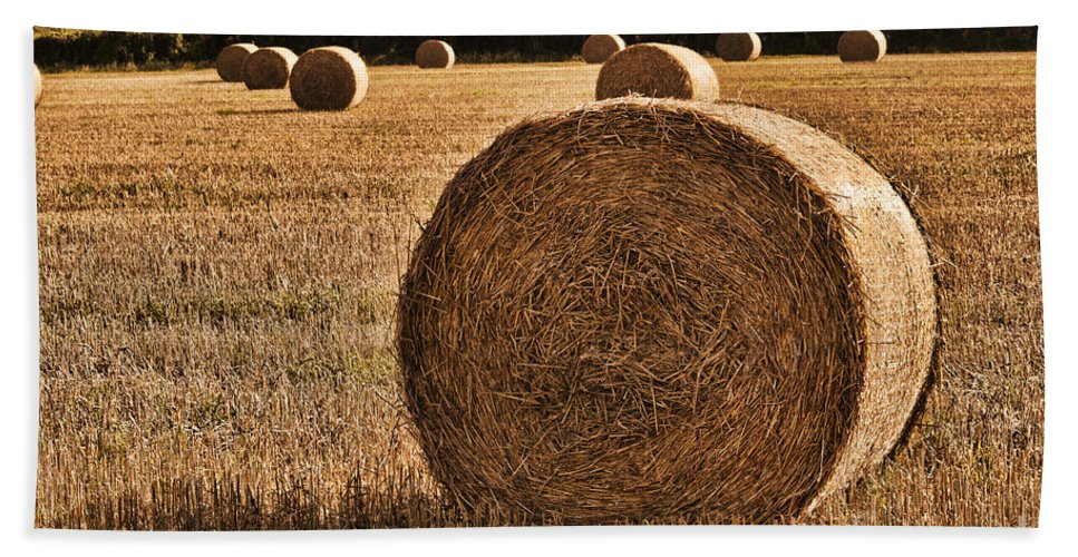 Hay Bales Hand Towel featuring the photograph Hay Bales 2 by Steve Purnell