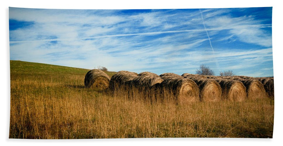 Agriculture Hand Towel featuring the photograph Hay Bales And Contrails by Amy Cicconi