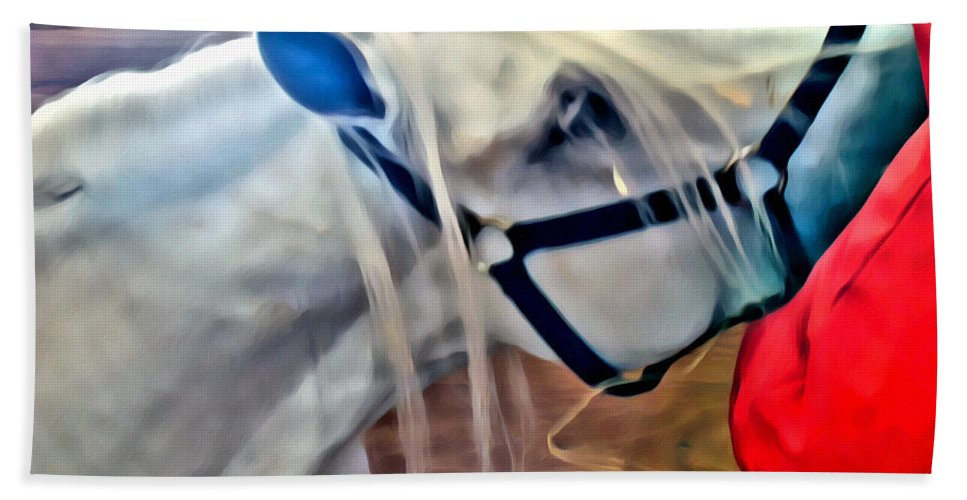 Horse White Hay Manger Bath Sheet featuring the photograph Hay For The White Horse by Alice Gipson