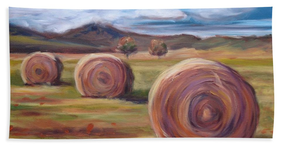 Virginia Bath Sheet featuring the painting Hay Harvest by Donna Tuten