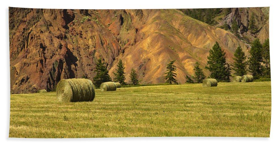 Beautiful British Columbia Hand Towel featuring the photograph Hay Rolls by Theresa Tahara