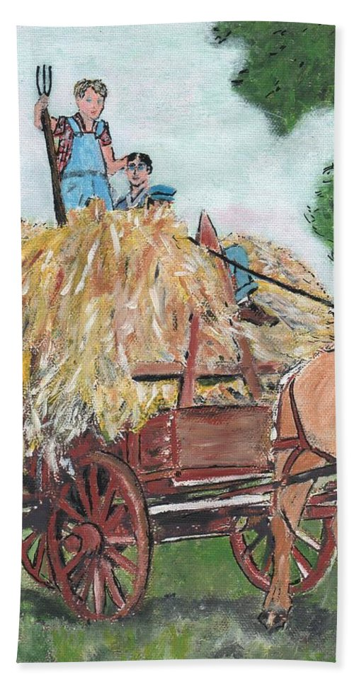 Farming Bath Sheet featuring the painting Haying Circa 1920 by Cliff Wilson