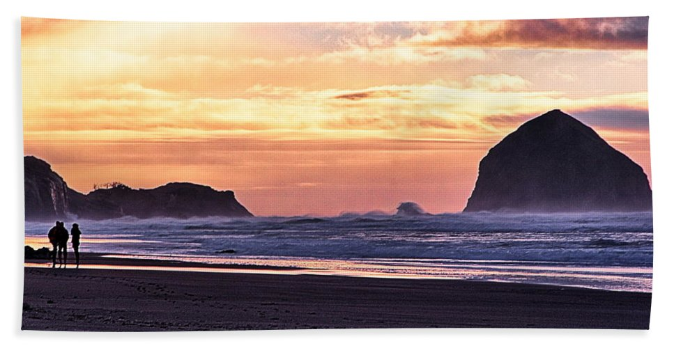 Haystack Rock Hand Towel featuring the photograph Haystack Rock Beach Walk Sunset by Chriss Pagani